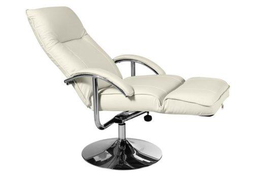 Wygodny, obrotowy fotel na podnóżku szary