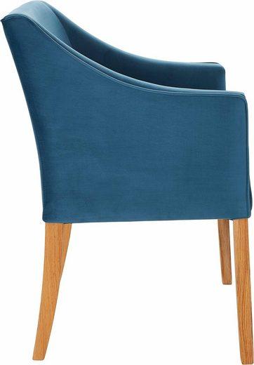 Wygodny fotel z niebieskiej mikrofibry w stylu lat 50-tych