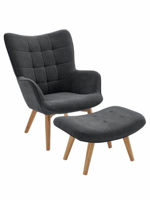 Stylowy, elegancki fotel z podnóżkiem