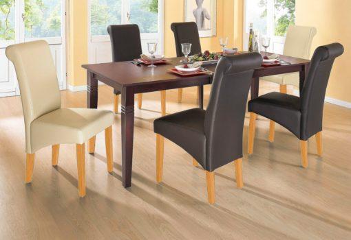 Krzesła brązowe, ekoskóra, lite drewno bukowe 2 szt