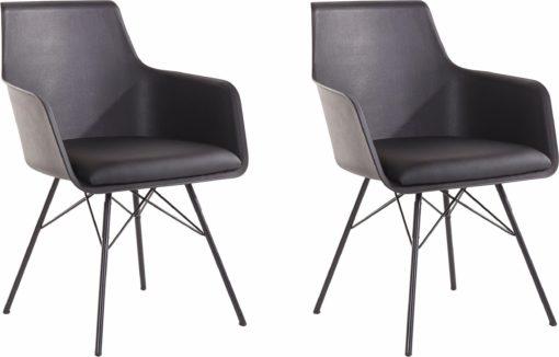 Eleganckie, wyrafinowane czarne krzesła - 2 sztuki