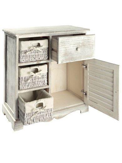 Lekka, drewniana komoda z wiklinowymi koszykami