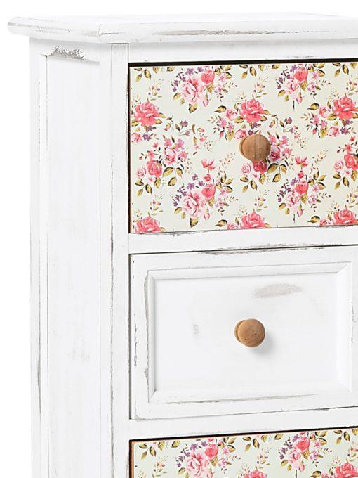 Romantyczna drewniana komoda z motywem róży