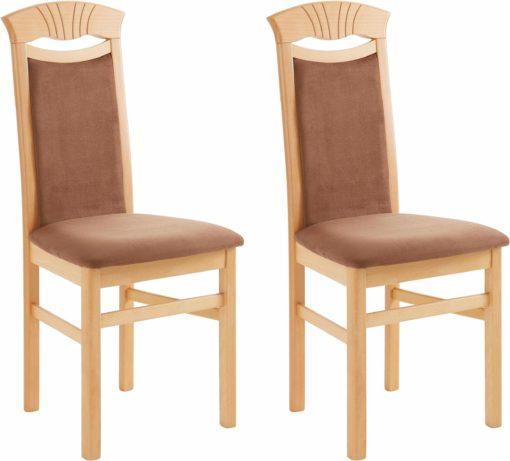 Zestaw krzeseł tapicerowanych, brązowe, rama buk
