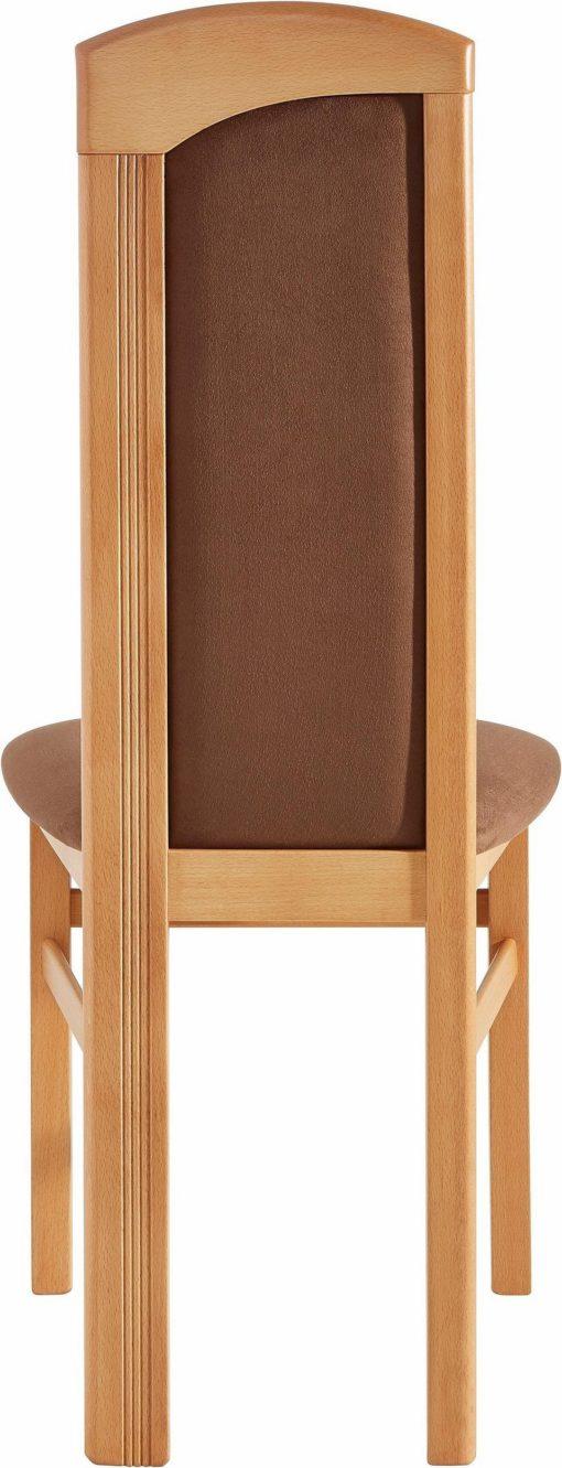 Zestaw 2 krzeseł tapicerowanych, brązowe, rama buk