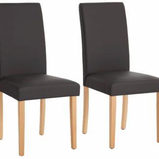 Stylowe, proste krzesła tapicerowane ekoskórą - 8 sztuk