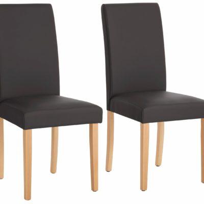 Stylowe, proste krzesła tapicerowane ekoskórą - 2 sztuki