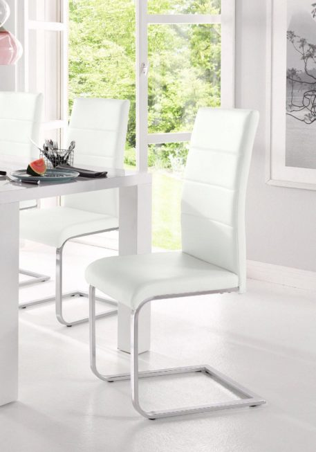 Białe krzesła z ekoskóry na płozach 8 sztuk