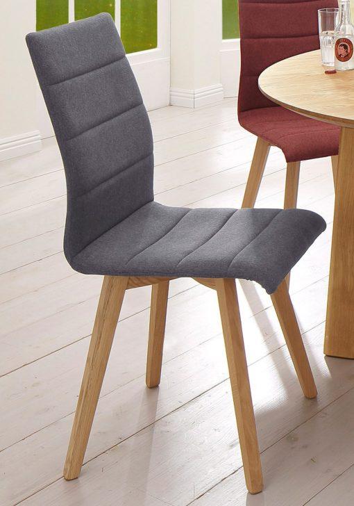 Krzesła retro, rama dębowa, mikrofibra, 2 sztuki
