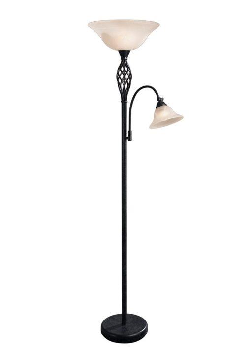 Wysoka lampa podłogowa w stylu rustykalnym