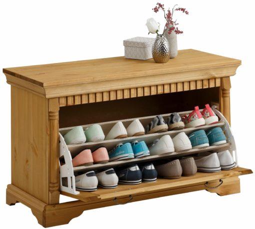 Praktyczna, sosnowa ławka na buty w stylu rustykalnym