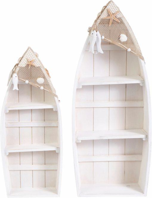 Dwie dekoracyjne półki w kształcie łódek