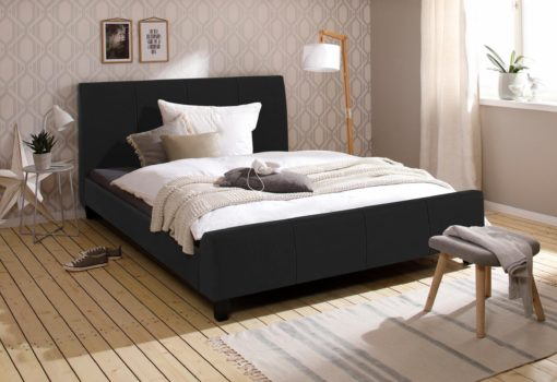 Tapicerowane łóżko 160x200 cm w kolorze czarnym