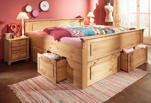 Wyjątkowe, pięknie zdobione, sosnowe łóżko 180x200 cm