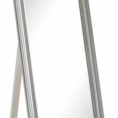Duże, stojące lustro z przepiękną srebrną ramą
