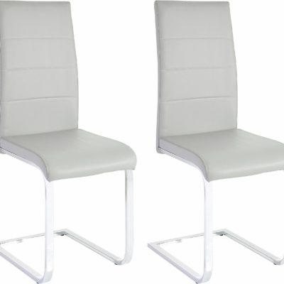 Szare krzesła z ekoskóry na płozach - komplet 2 sztuki