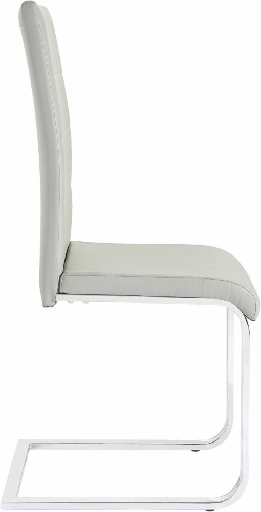 Szare krzesła z ekoskóry na płozach - komplet 4 sztuki