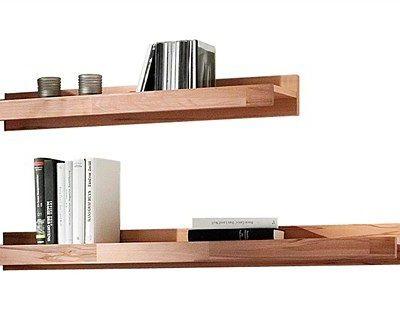 Zestaw dwóch dekoracyjnych półek ściennych z drewna bukowego