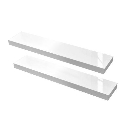 Zestaw dwóch półek ściennych - białe, wysoki połysk