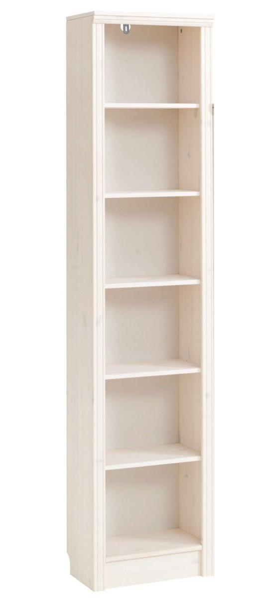 Klasyczny, biały regał z sześcioma półkami