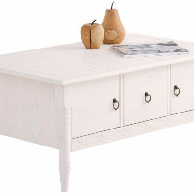 Piękny i oryginalny, sosnowy stolik do salonu, biały, lite drewno