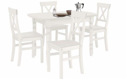 Piękny, sosnowy stół  toczonymi nogami, biały