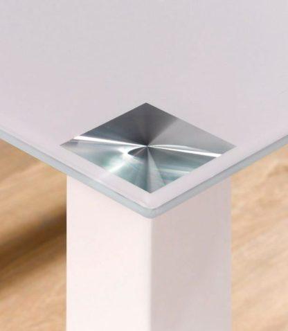 Stylowy, biały stół ze szklanym blatem 160x90 cm