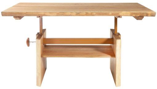Masywny stół z regulacją wysokości z dzikiego dębu