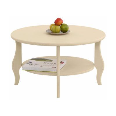 Okrągły, kremowy stolik w rustykalnym stylu, sosnowy