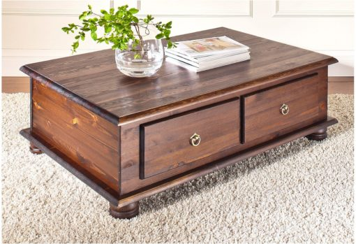 Niepowtarzalny, drewniany stolik kawowy, 2 szuflady