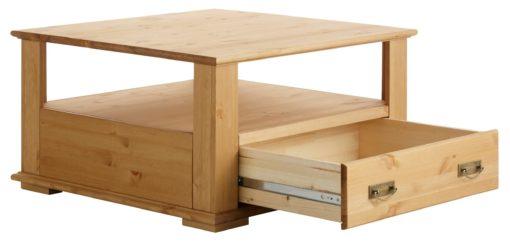 Elegancki i praktyczny sosnowy stolik kawowy