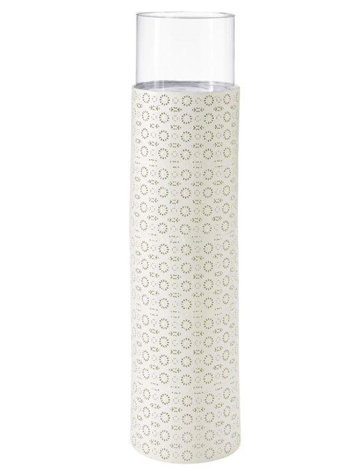 Dekoracyjny, duży świecznik podłogowy - biały