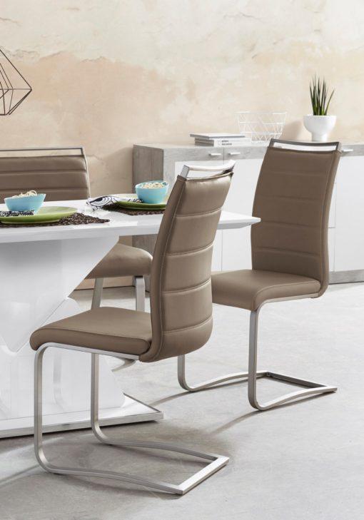 Nowoczesne krzesła na płozach, ekoskóra cappuccino 2 szt