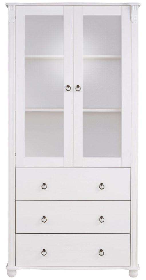 Stylowa witryna z drewna sosnowego w kolorze białym