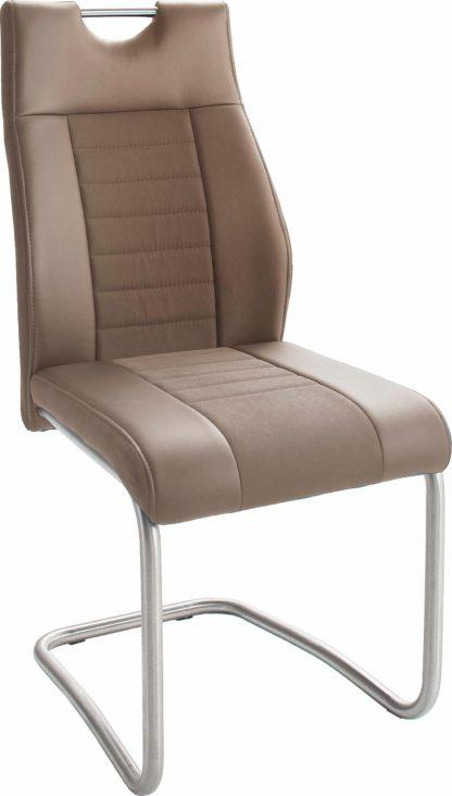 Nowoczesne krzesła na płozach, kolor cappuccino - 4 sztuki