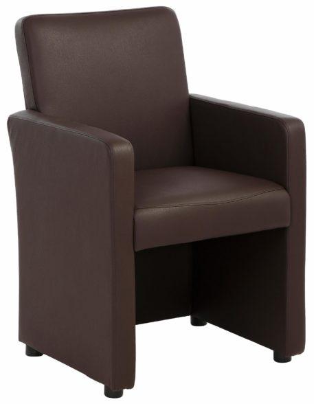 Atrakcyjny fotel tapicerowany sztuczną skórą, brązowy