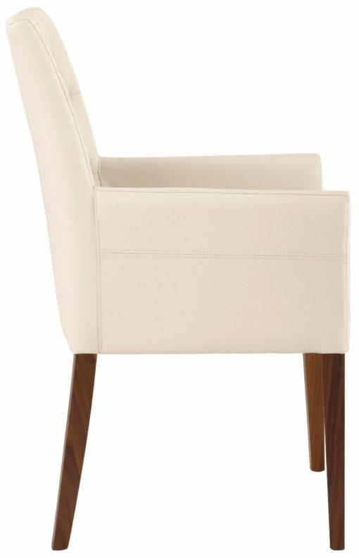 Stylowy i elegancki fotel tapicerowany sztuczną skórą w kolorze beżowym