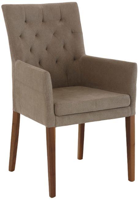 Stylowy i elegancki fotel tapicerowany tkaniną w kolorze brązowym
