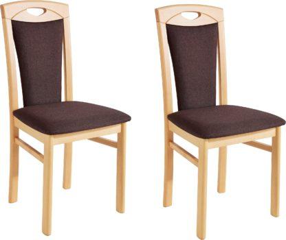 Klasyczne krzesła tapicerowane czekoladową mikrofibrą -2 sztuki