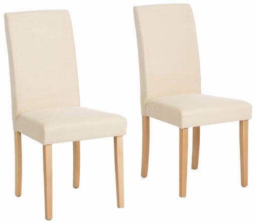 Proste, klasyczne beżowe krzesła - zestaw 2 sztuki