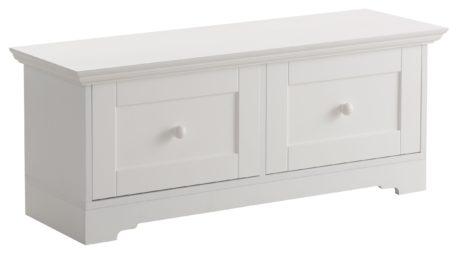 Piękna, biała ławka z dwiema szufladami