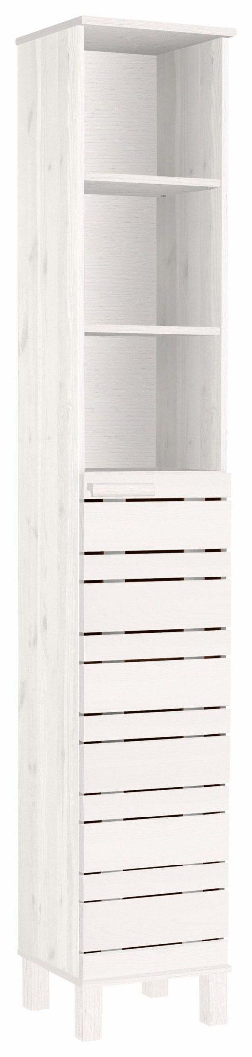 Wysoka szafka łazienkowa w kolorze białym, drewno