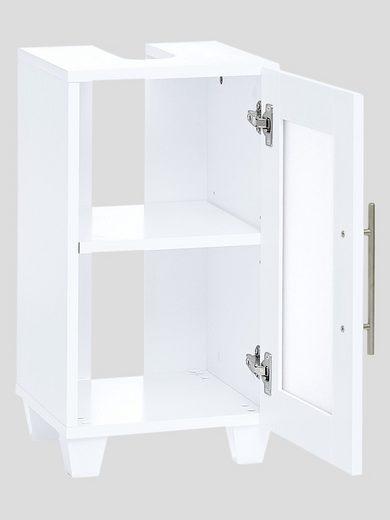 Biała szafka pod umywalkę z satynowym szkłem