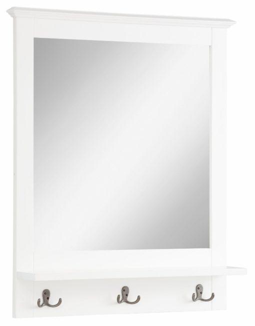 Praktyczne lustro w białej ramie z półką i haczykami