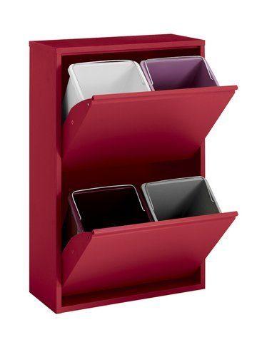 Elegancki, metalowy segregator na śmieci - czerwony