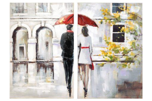 Piękny dwuczęściowy obraz ręcznie malowany na płótnie