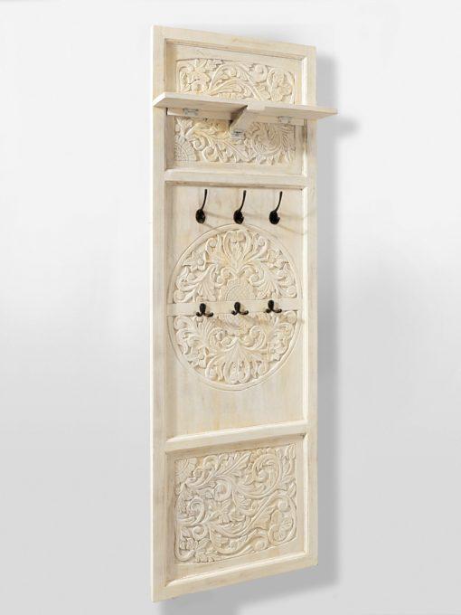 Przepiękny, ręcznie rzeźbiony panel ścienny z drewna mango