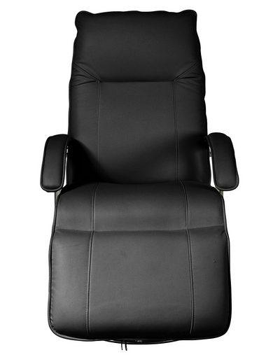 Wygodny, obrotowy fotel na podnóżku czarny, imitacja skóry