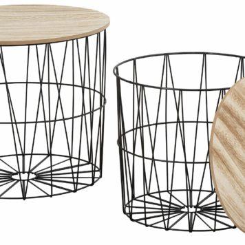 Zestaw dwóch nowocesnych stolików, metal+drewno