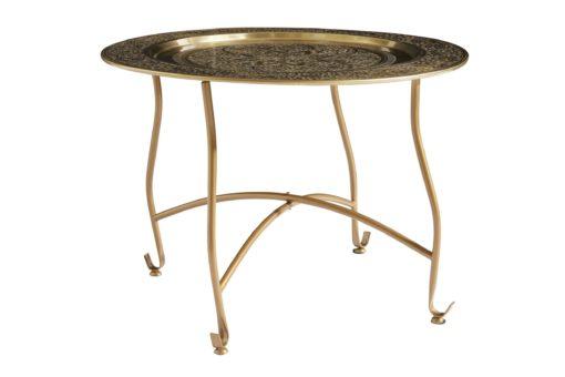 Mały, metalowy stolik z pięknym ornamentem